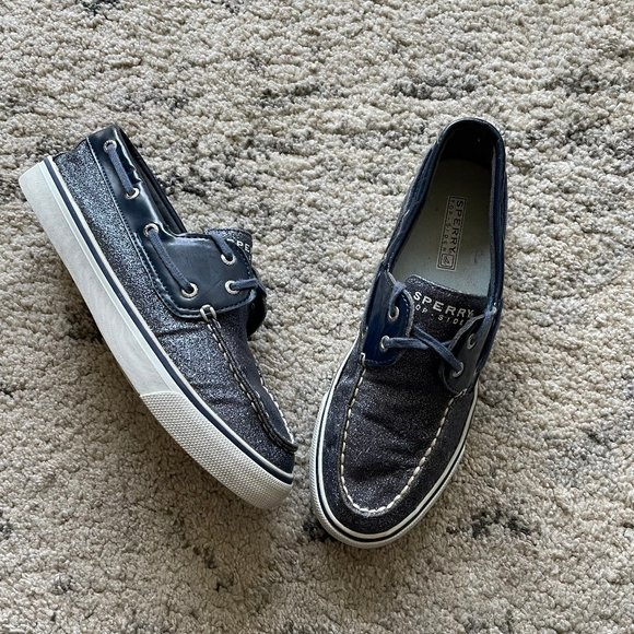 Sperry Top Sider Navy Sparkle Boat Shoes 7.5